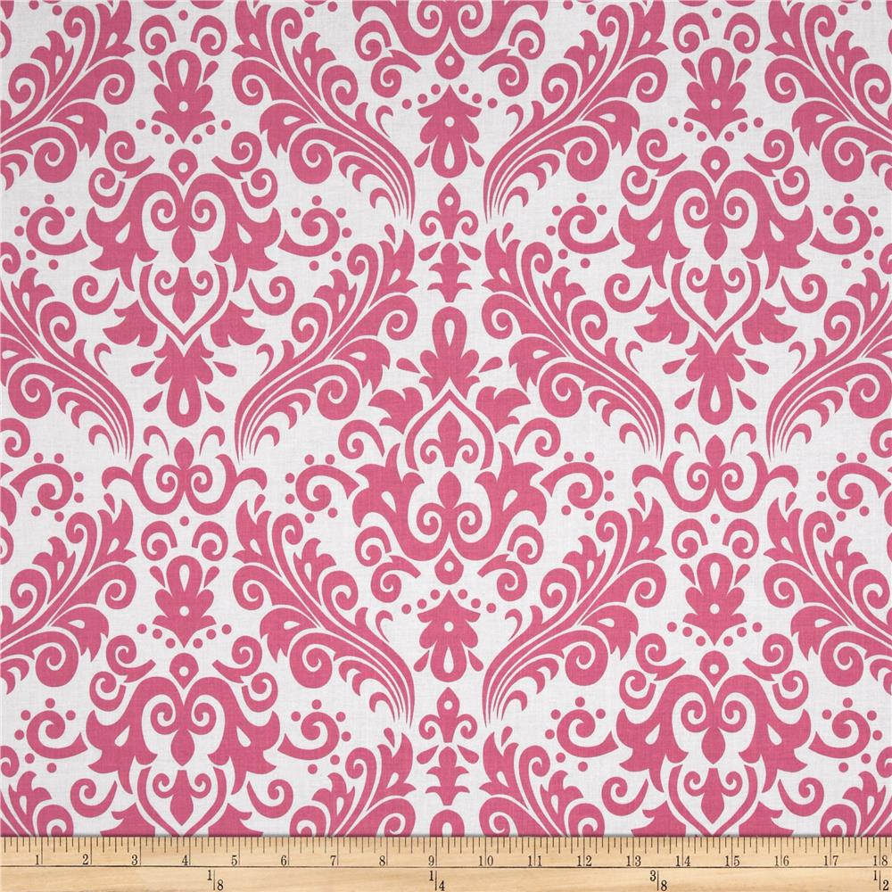 Riley Blake Large Damask WhiteHot Pink Discount