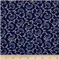 Blueberry Buckle Dotted Flowers Navy Blue