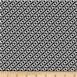 Bengaline Jacquard Abstract Circle Print Black/White