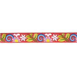 "7/8"" Jane Sassaman Red Bouquet Ribbon"