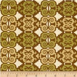 Arianna Damask Trellis Cream/Khaki Fabric
