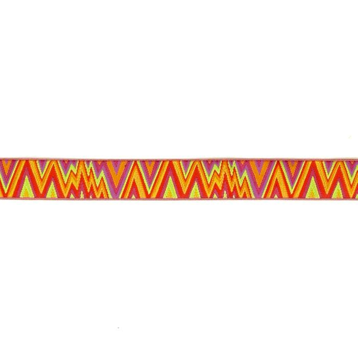 "7/8"" Kaffe Fasset Flame Stitch Ribbon Orange/Pink"