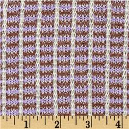 Stretch Soft Sweater Knit Double Stripes Lilac/Brown