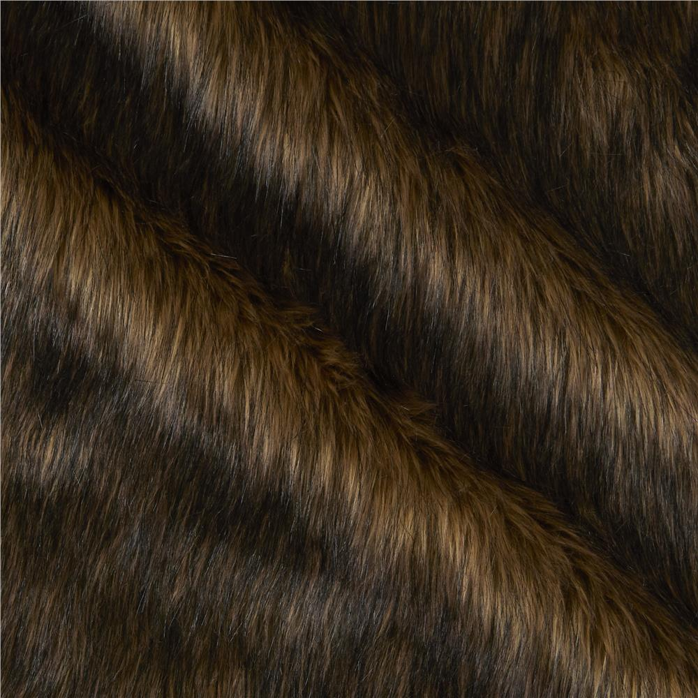 Faux Fur Wolf Brown/Black
