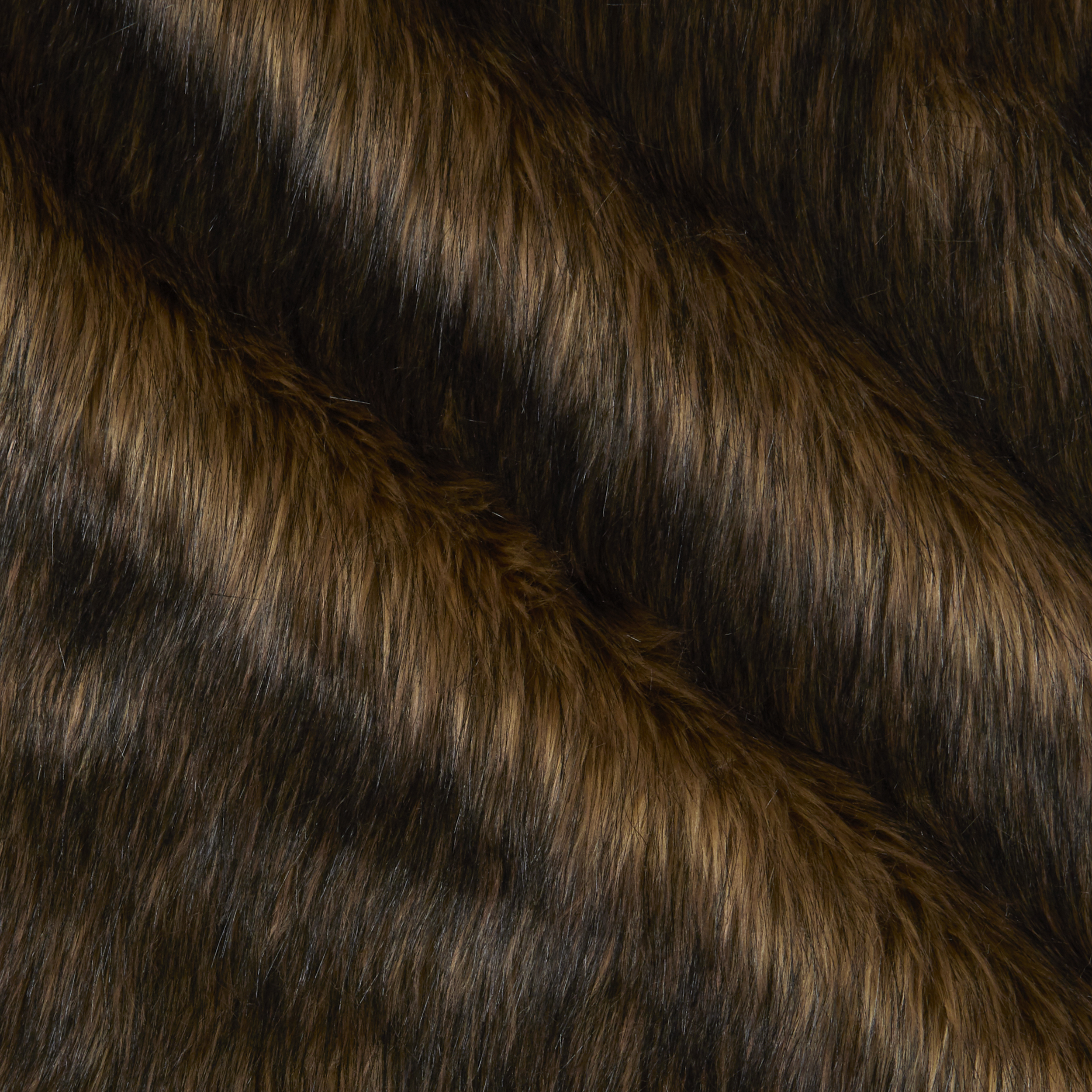 Faux Fur Wolf Brown/Black Fabric