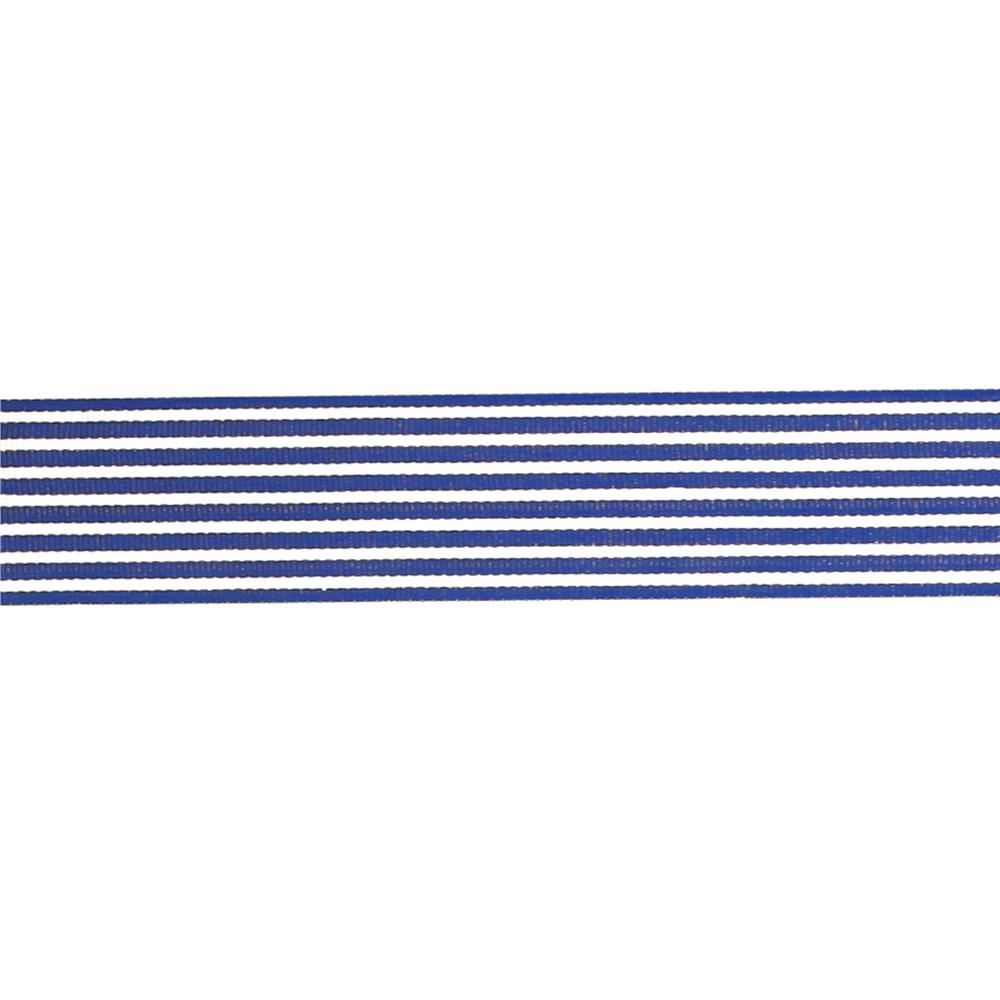 "May Arts 1 1/2""  Grosgrain Stripes Ribbon Spool Royal Blue/Ivory"