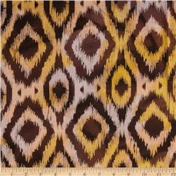 Indian Batik Flannel Ikat Brown/Coral/Yellow