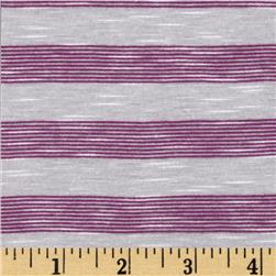 Yarn Dyed Slub Jersey Knit Stripe White/Purple