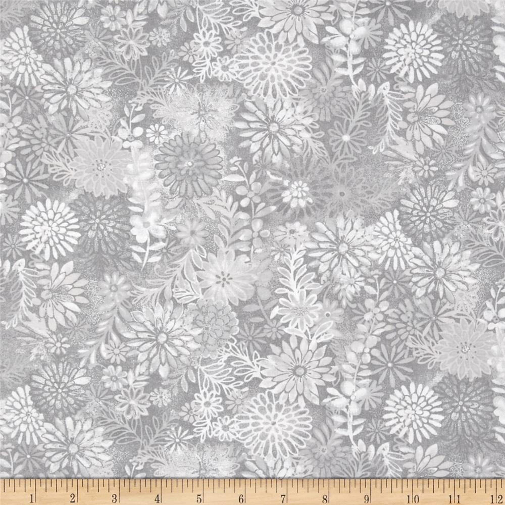 "44"" Wide Quilt Packed Floral Grey"