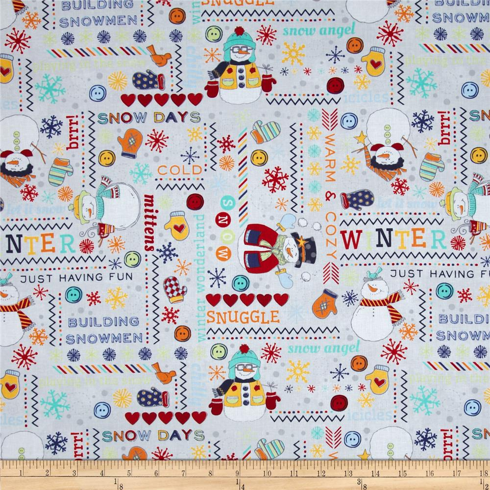 Flaky Snow Pals Snowman Wordplay Grey