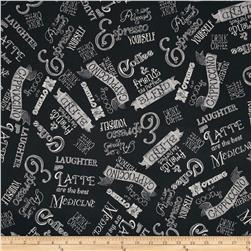 Blend Words Black Fabric