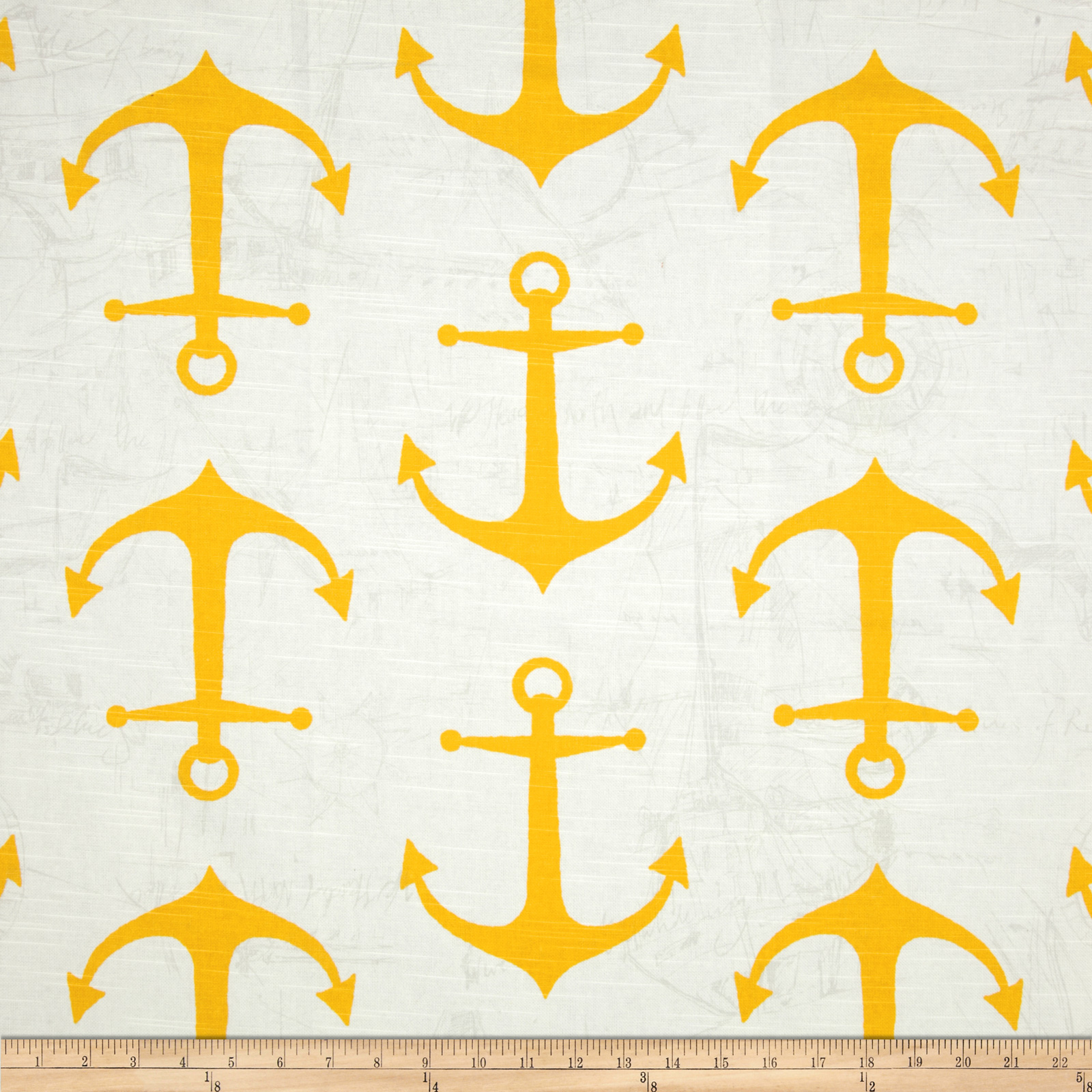 Premier Prints Anchors Slub Corn Yellow Fabric