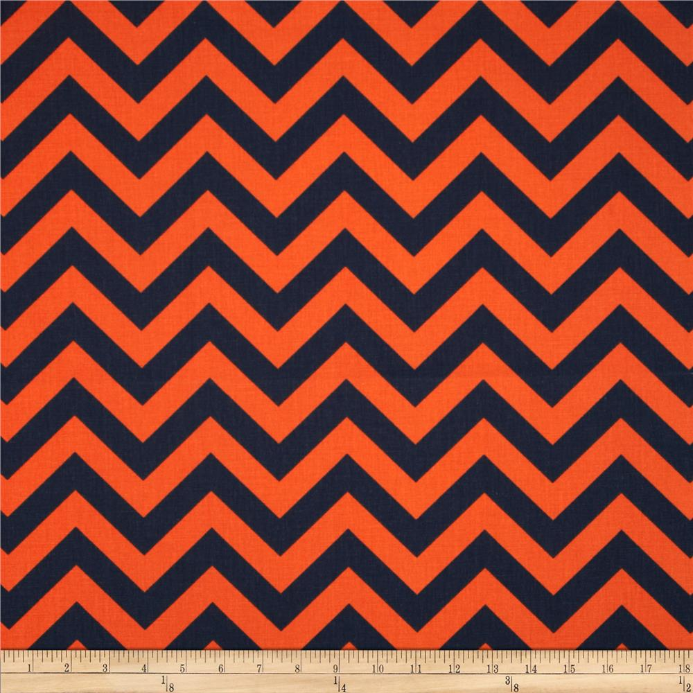 Premier Prints Zig Zag Navy/Orange - Discount Designer Fabric ...