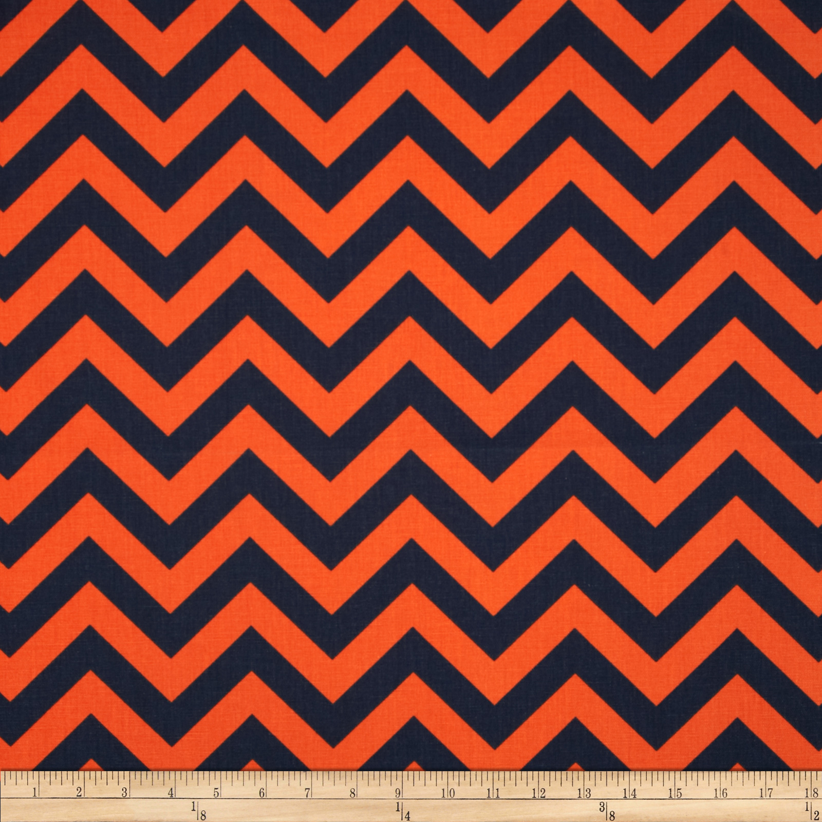 Premier Prints Zig Zag Navy/Orange Fabric