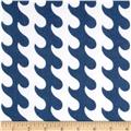 Riley Blake Fly Aweigh Flannel Waves Blue