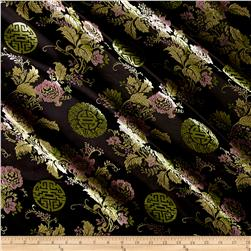 Chinese Brocade Lime Medallion Pink Flowers