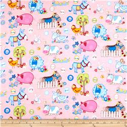 Flannel Funny Farm Pink