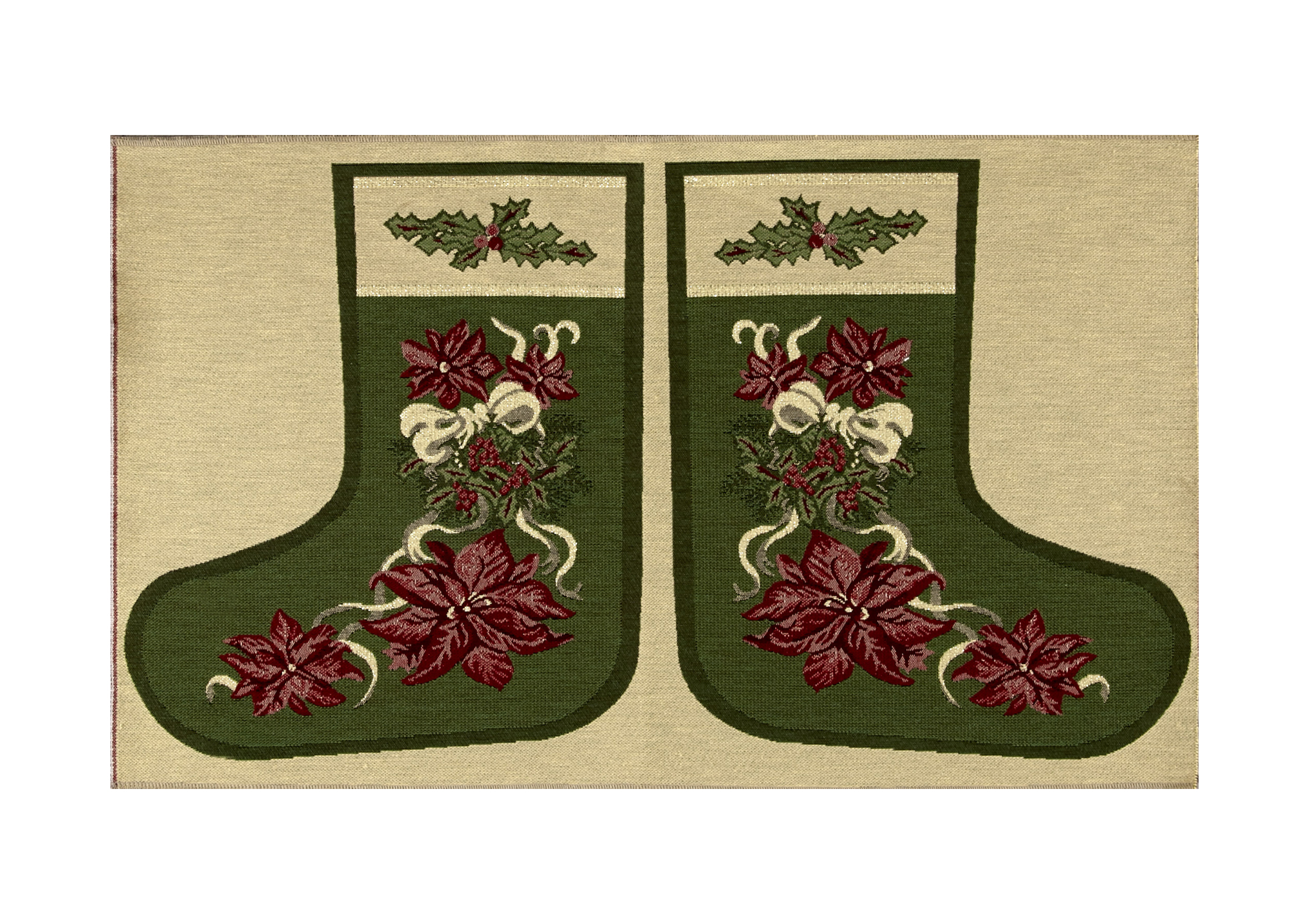 Holiday Joy Jacquard Easy Sew Stocking Template Panel Poinsettia 27'' X 18.8'' Fabric 0544880