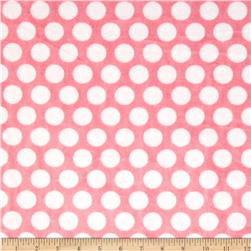 Minky Cuddle Classics Mod Dot Paris Pink/Snow Fabric