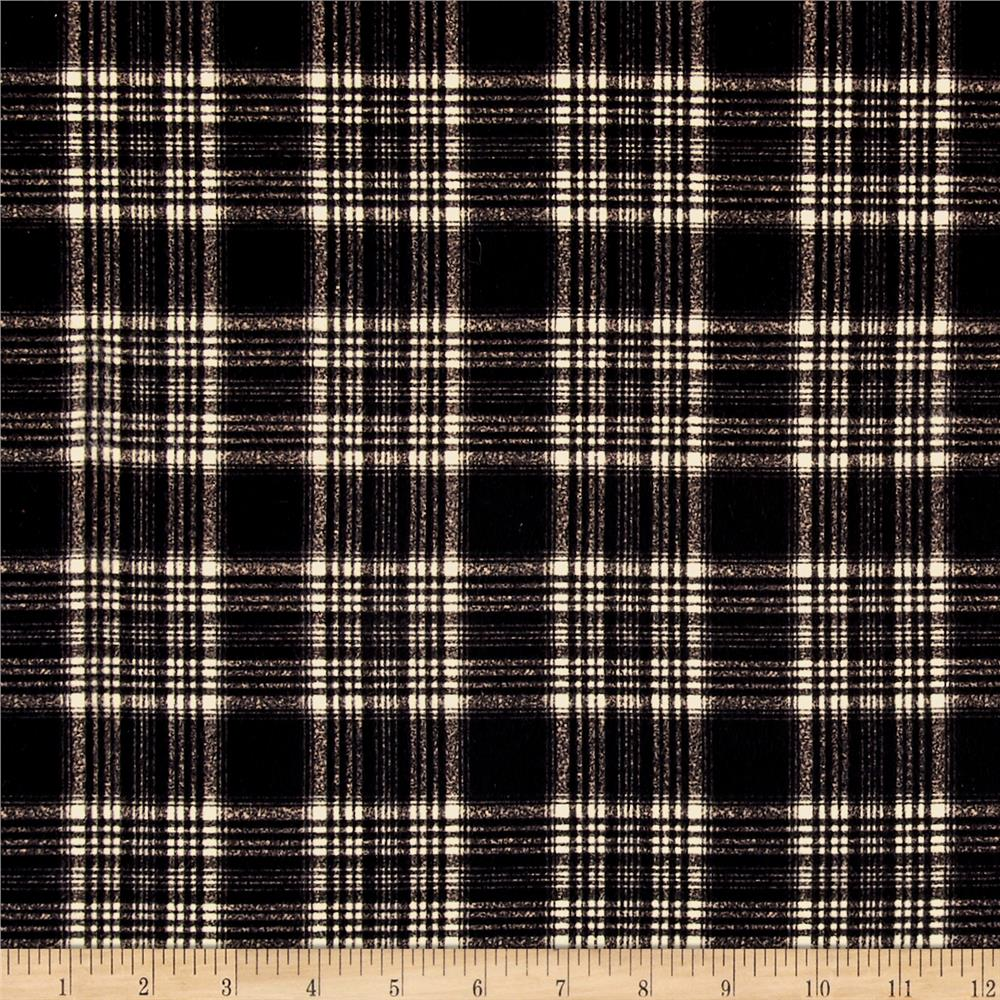 Timeless Treasures Oxford Flannels Tonal Plaid Black Fabric