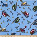 Flannel Dump Trucks Blue