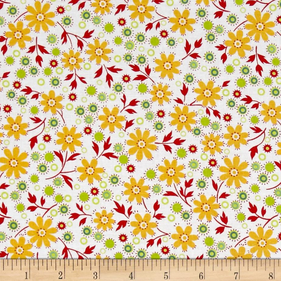 The Little Red Hen Medium Floral White/Multi
