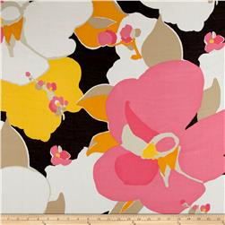 Italian Designer Cotton Silk Batiste Floral Pink/Orange/Black/Yellow