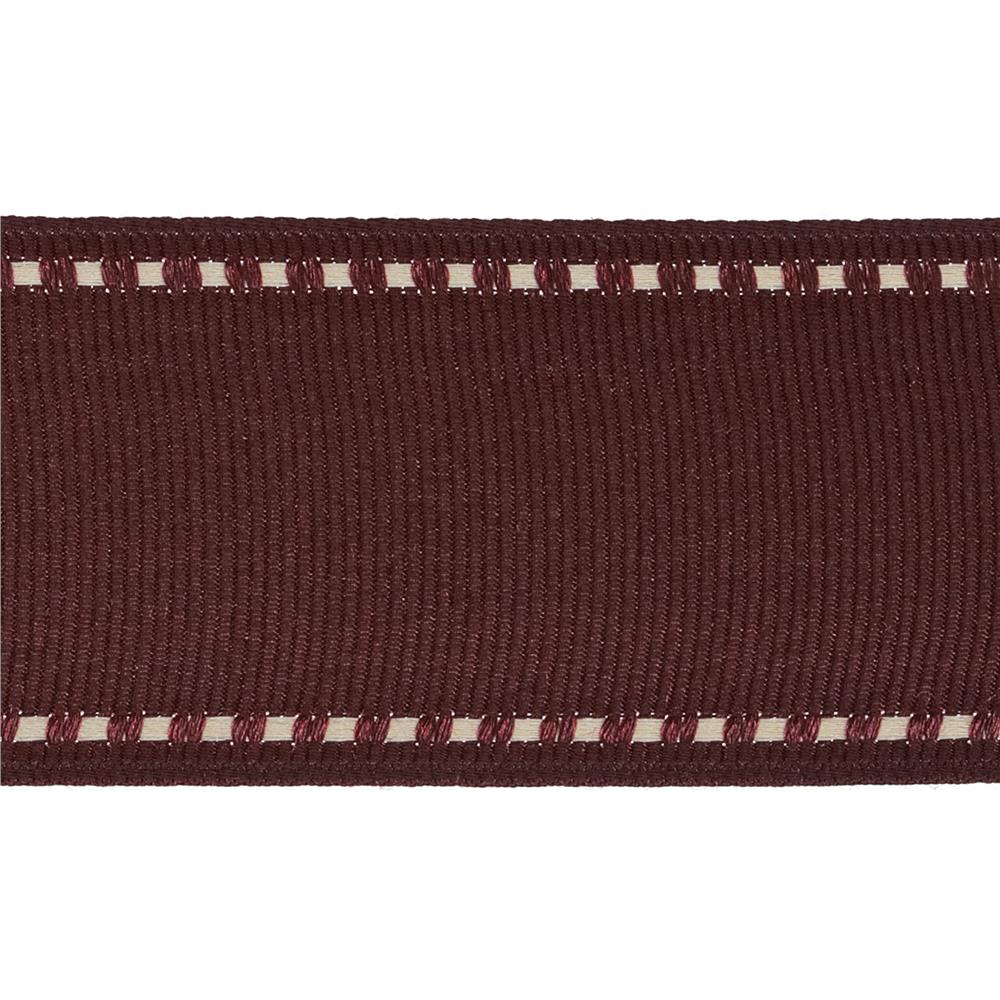 "1 1/2"" Grosgrain Stitched Edge Ribbon Burgundy/Ivory"