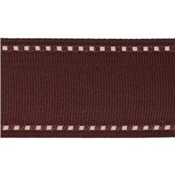 1 1/2'' Grosgrain Stitched Edge Ribbon Burgundy/Ivory