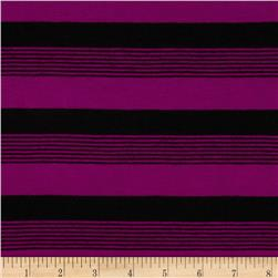 Yarn-Dyed Poly Jersey Knit Stripe Black/Magenta