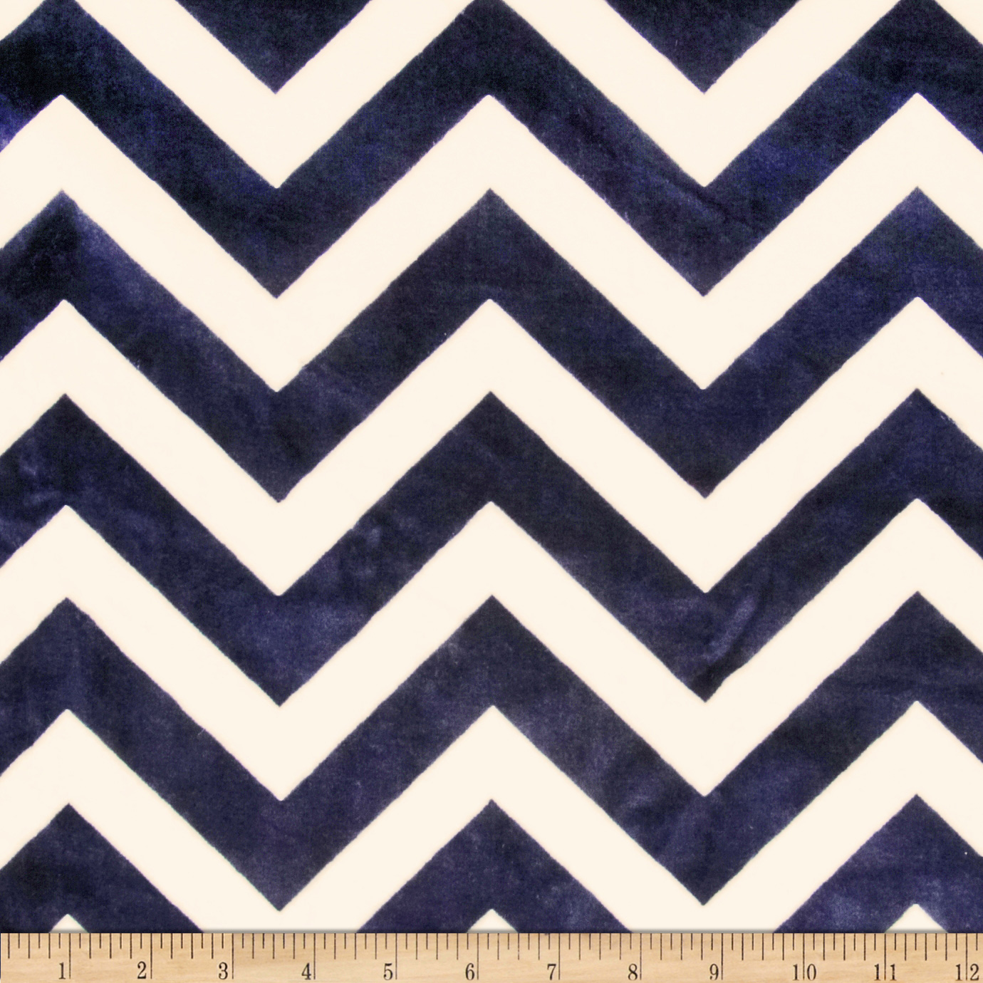 Minky Cuddle Chevron Navy/Ivory Fabric