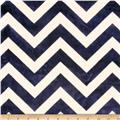 Minky Cuddle Chevron Navy/Ivory