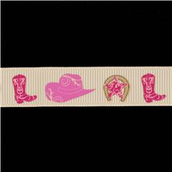 Riley Blake 5/8'' Grosgrain Ribbon Cowgirl Pink/Cream