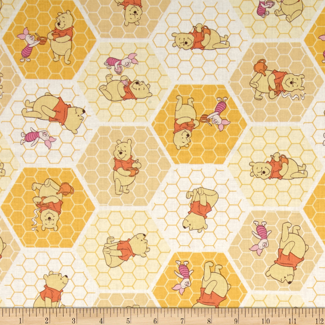 Disney Winnie The Pooh Tea Time Chamomile Fabric by Eugene in USA