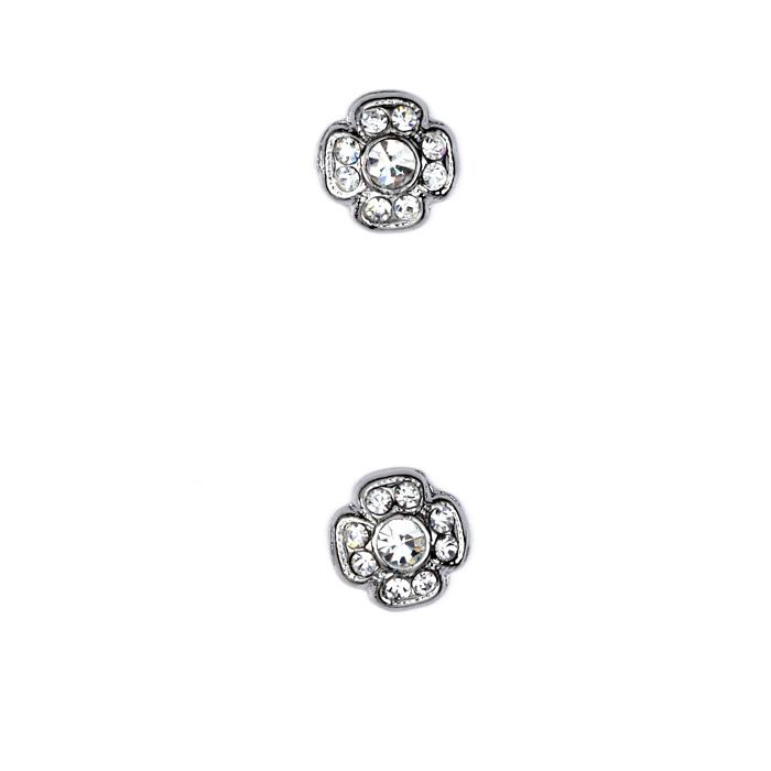 Glass Button 1/2'' Shiny Flower Rhinestone