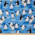 Flannel Tossed Large Penguins Blue