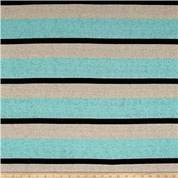 Sweater Knit Burnout Stripe Aqua/Beige