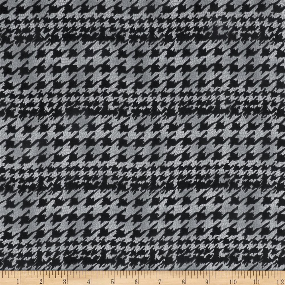Designer Peachskin Shirting Houndstooth Grey