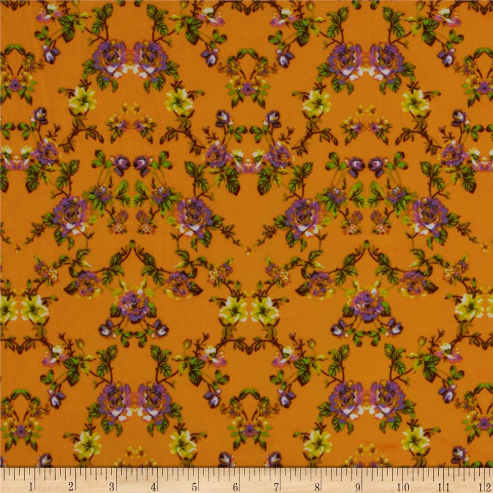 Designer Stretch ITY Knit Floral Purple/Yellow