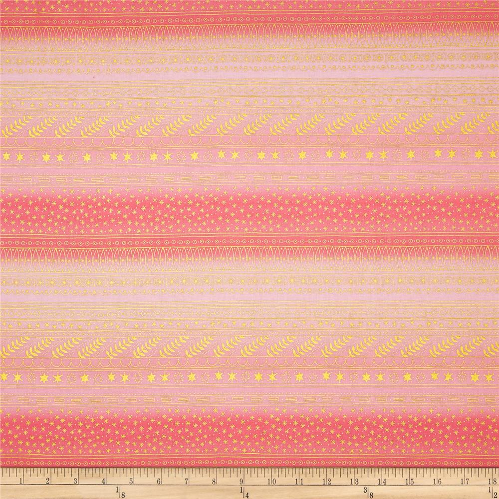 Christmas Time Filigree Stripe Metallic Pink