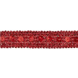 "3/4"" Adriana Metallic Sequin Braid Trim Roll Red"