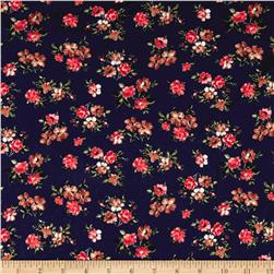 Double Brushed Poly Spandex Jersey Knit Floral Navy/Brown/Coral