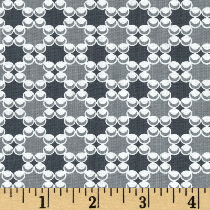 Downtown Dots & Plaids Gray Fabric