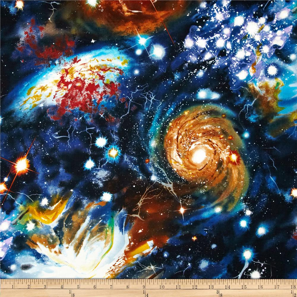 Stargazers space collage midnight discount designer for Space themed fleece fabric