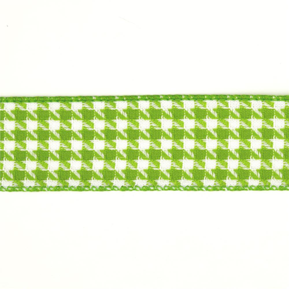 "1 1/2"" Houndstooth Nylon Edge Ribbon Parrot Green"