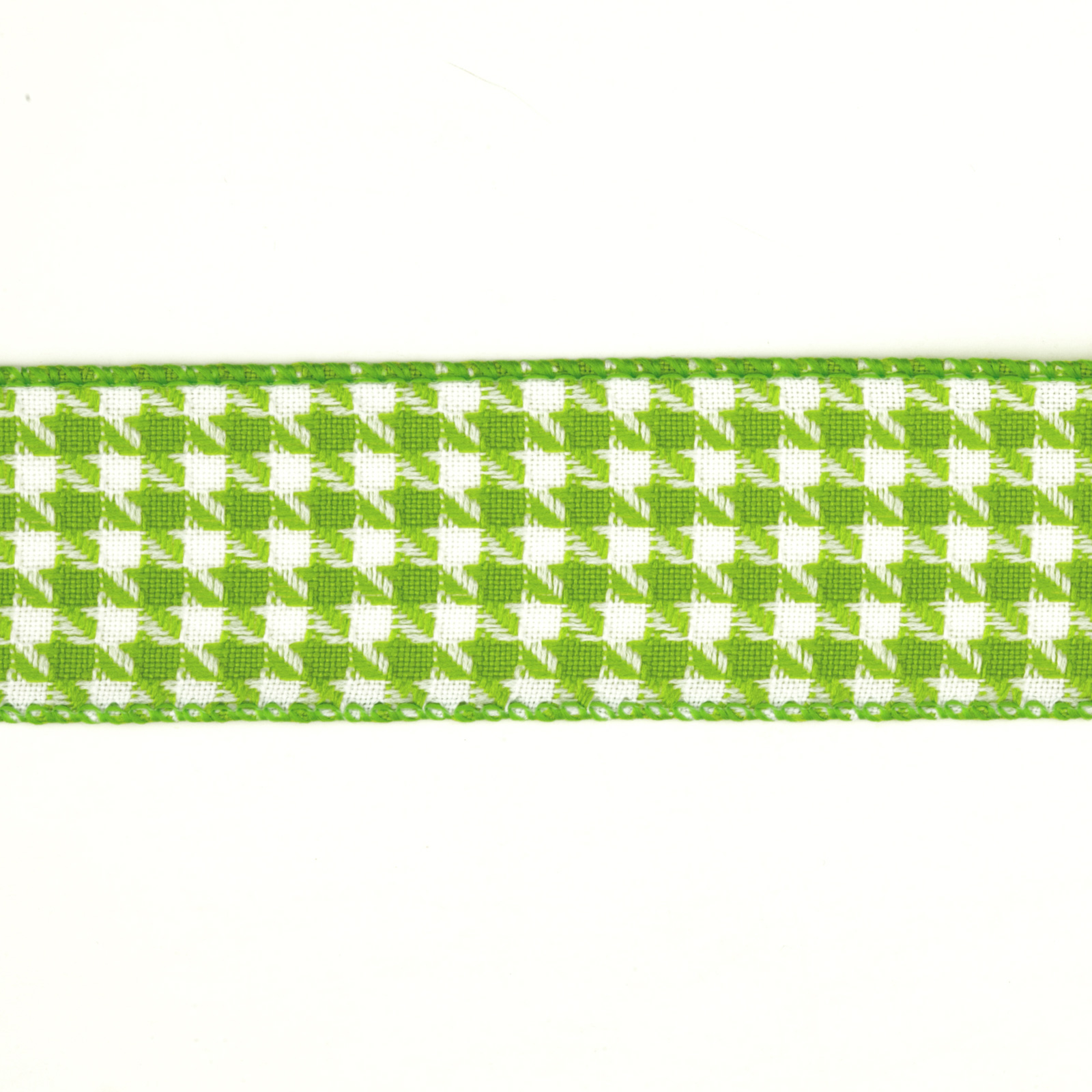 1 1/2'' Houndstooth Nylon Edge Ribbon Parrot Green