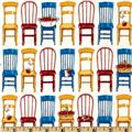 Kaufman Kiss The Cook Kitchen Chairs Spring Red/blue