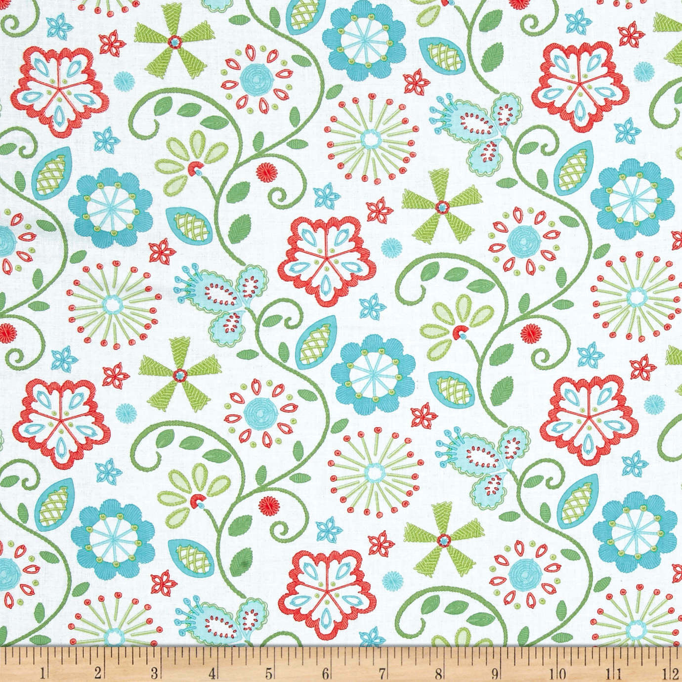 Sewing Room Embroidery White Fabric