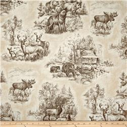 Timeless Treasures Bear and Deer Scenes Tan