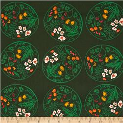 Heather Ross Tiger Lily Wreaths Green